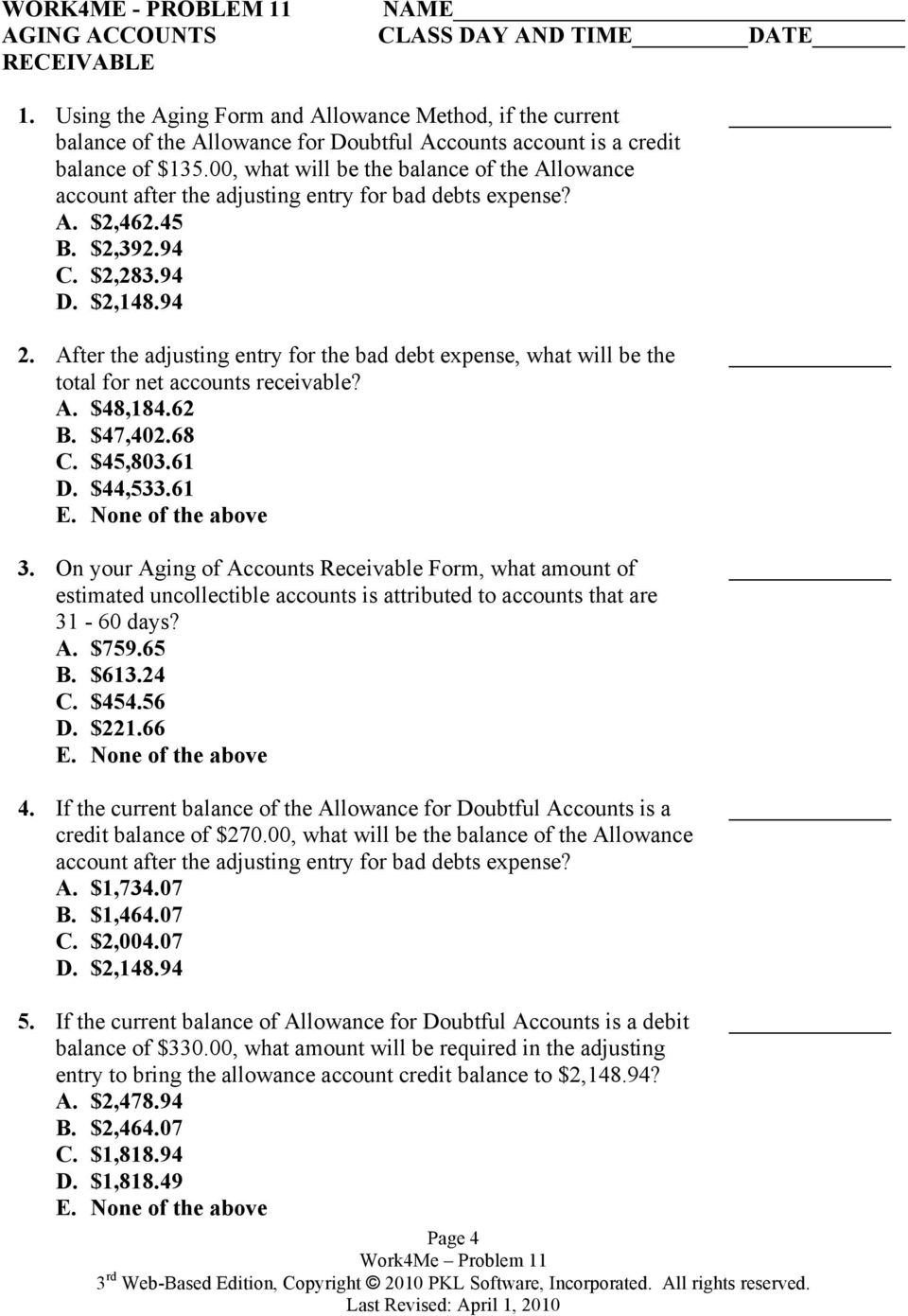 Work4Me Accounting Simulations  Problem Eleven - PDF