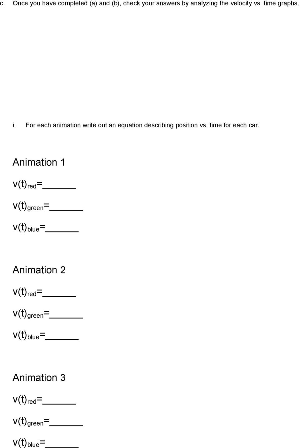 Worksheet For Exploration 21 Compare Position Vs Time And