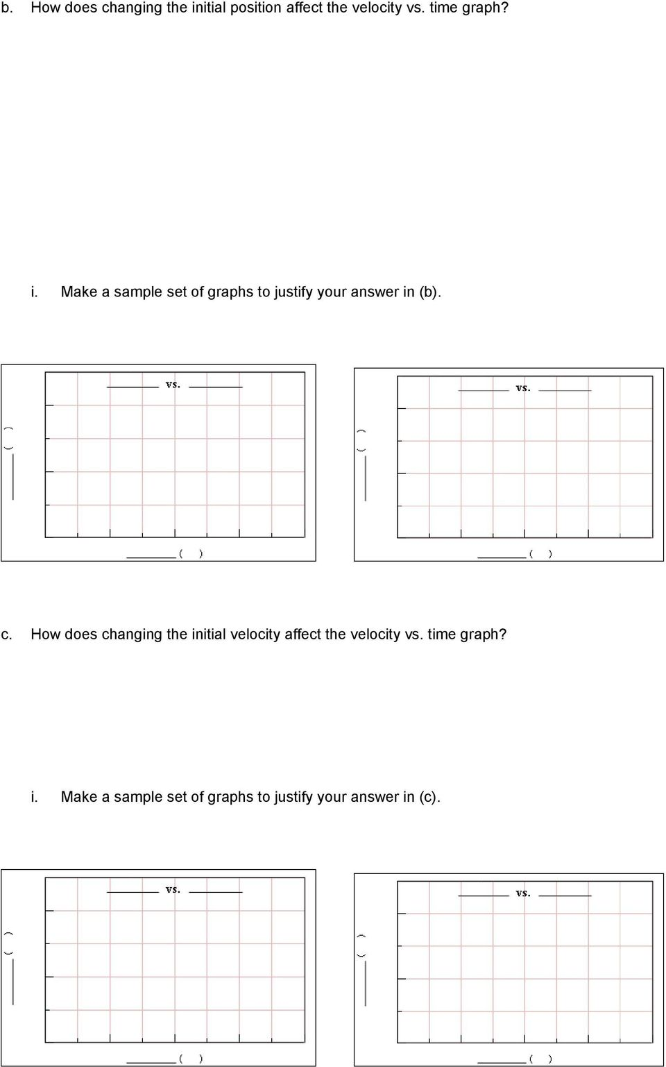 Worksheet For Exploration 2 1 Compare Position Vs Time And