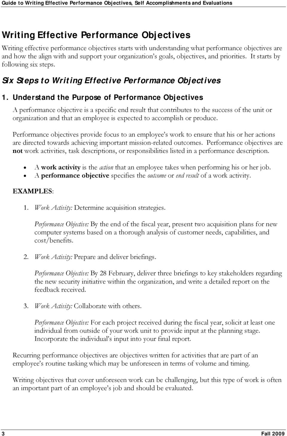 Guide To Writing Effective Performance Objectives Self