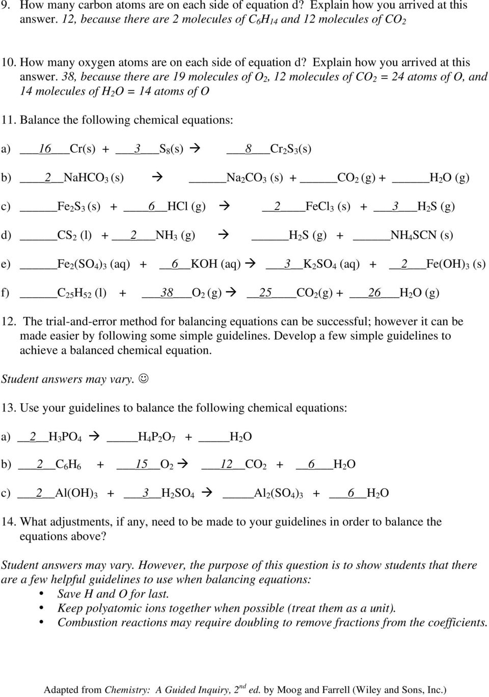 Balancing Chemical Equations Pdf