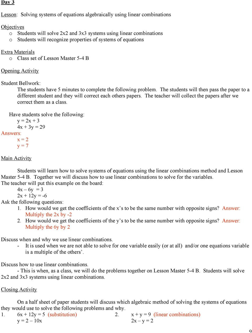 Solving Systems of Equations  11 th Grade 7-Day Unit Plan - PDF