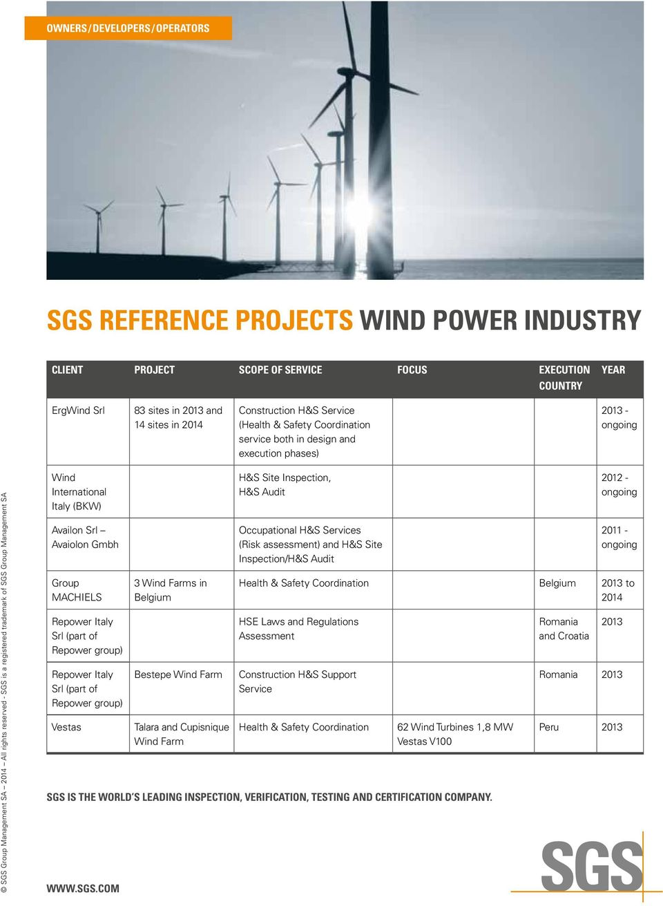 SGS REFERENCE PROJECTS WIND POWER INDUSTRY - PDF