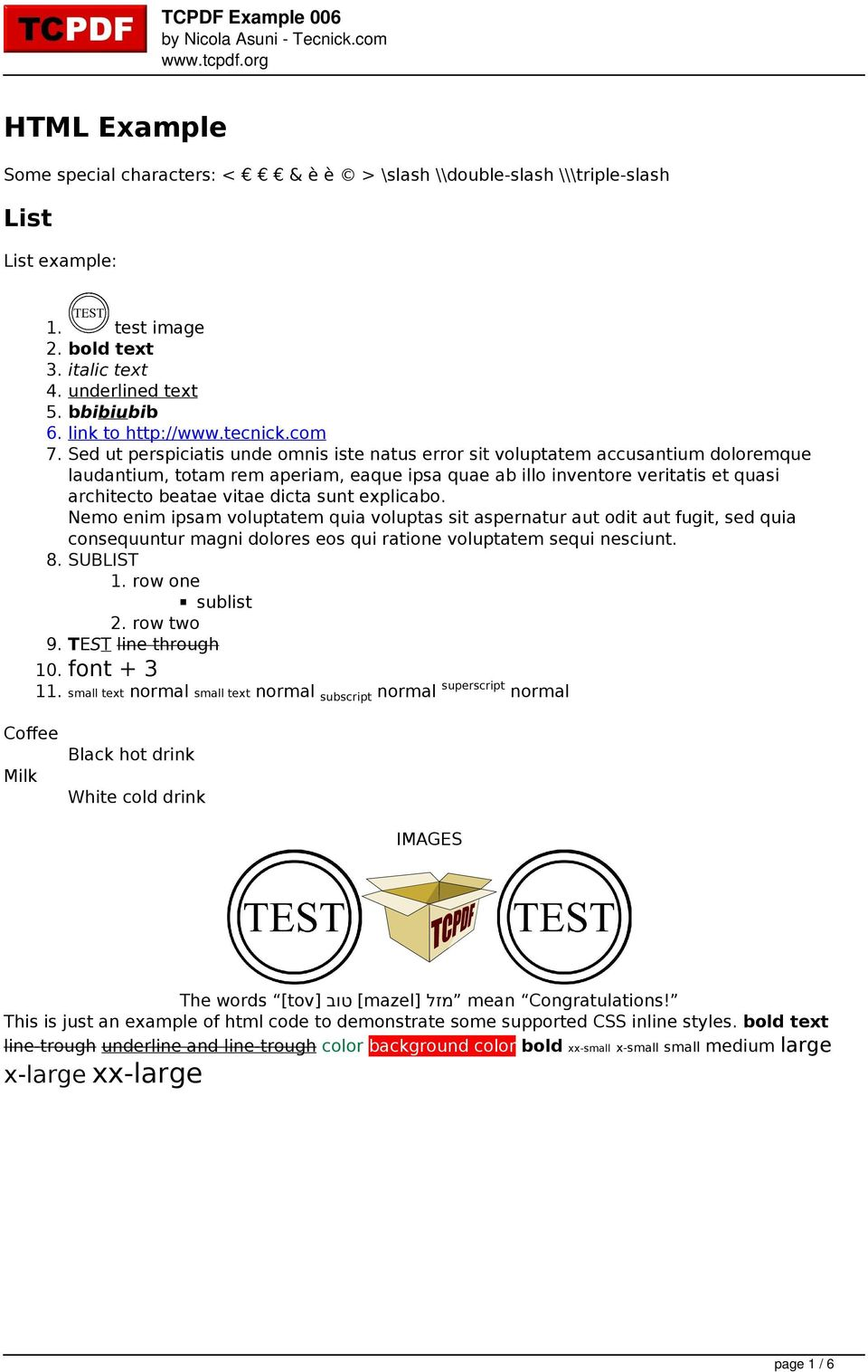 HTML Example  List  x-large xx-large  TCPDF Example 006 by Nicola