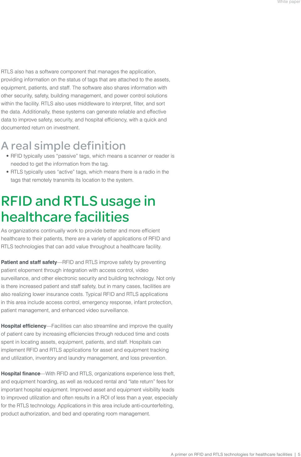A primer on RFID and RTLS technologies for healthcare facilities - PDF
