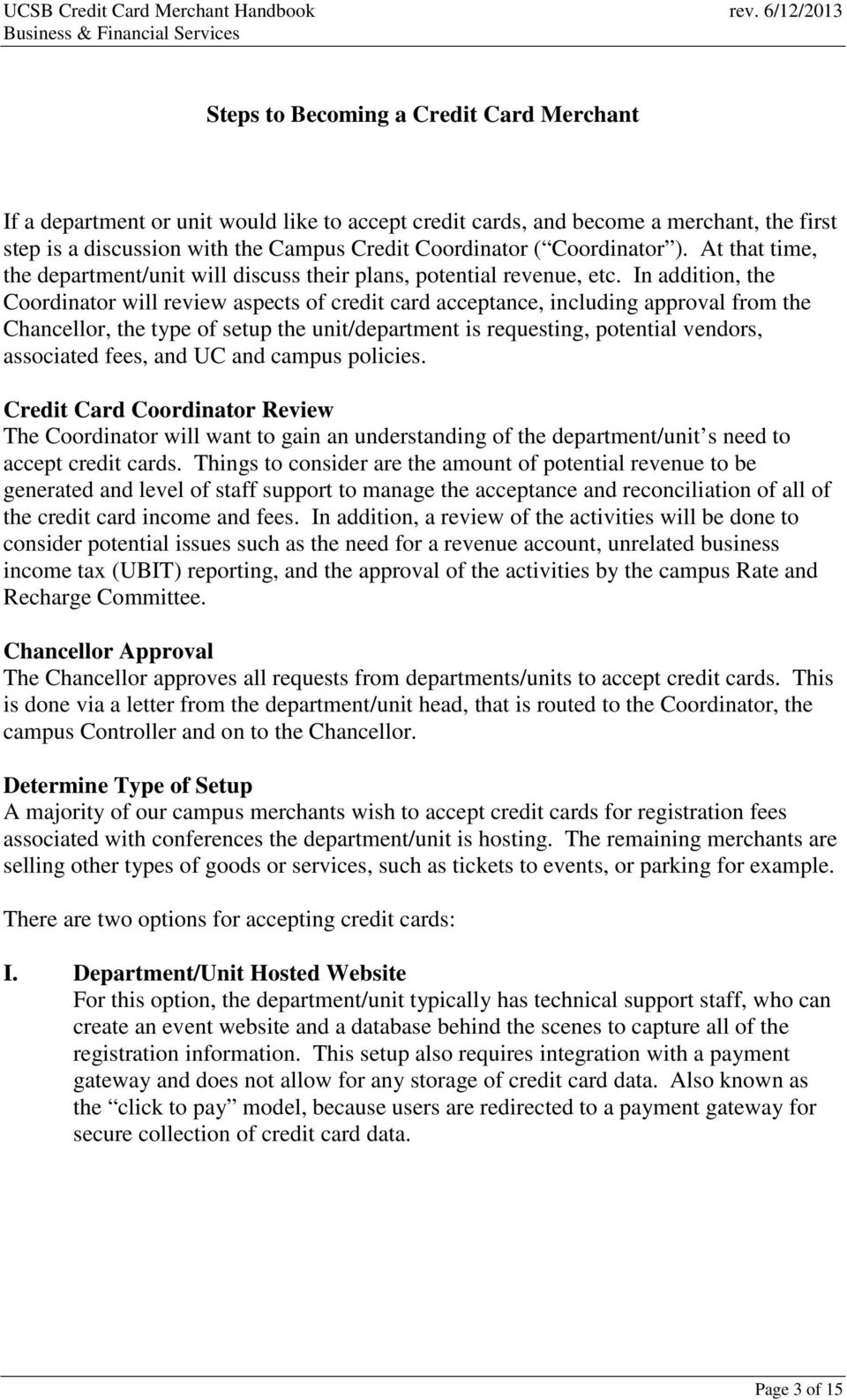 Credit Card Acceptance Policy