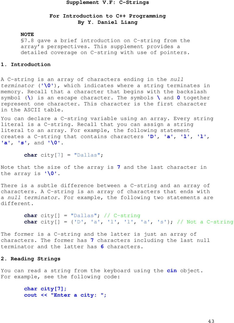 Supplement Vf C Strings For Introduction To C Programming By Y