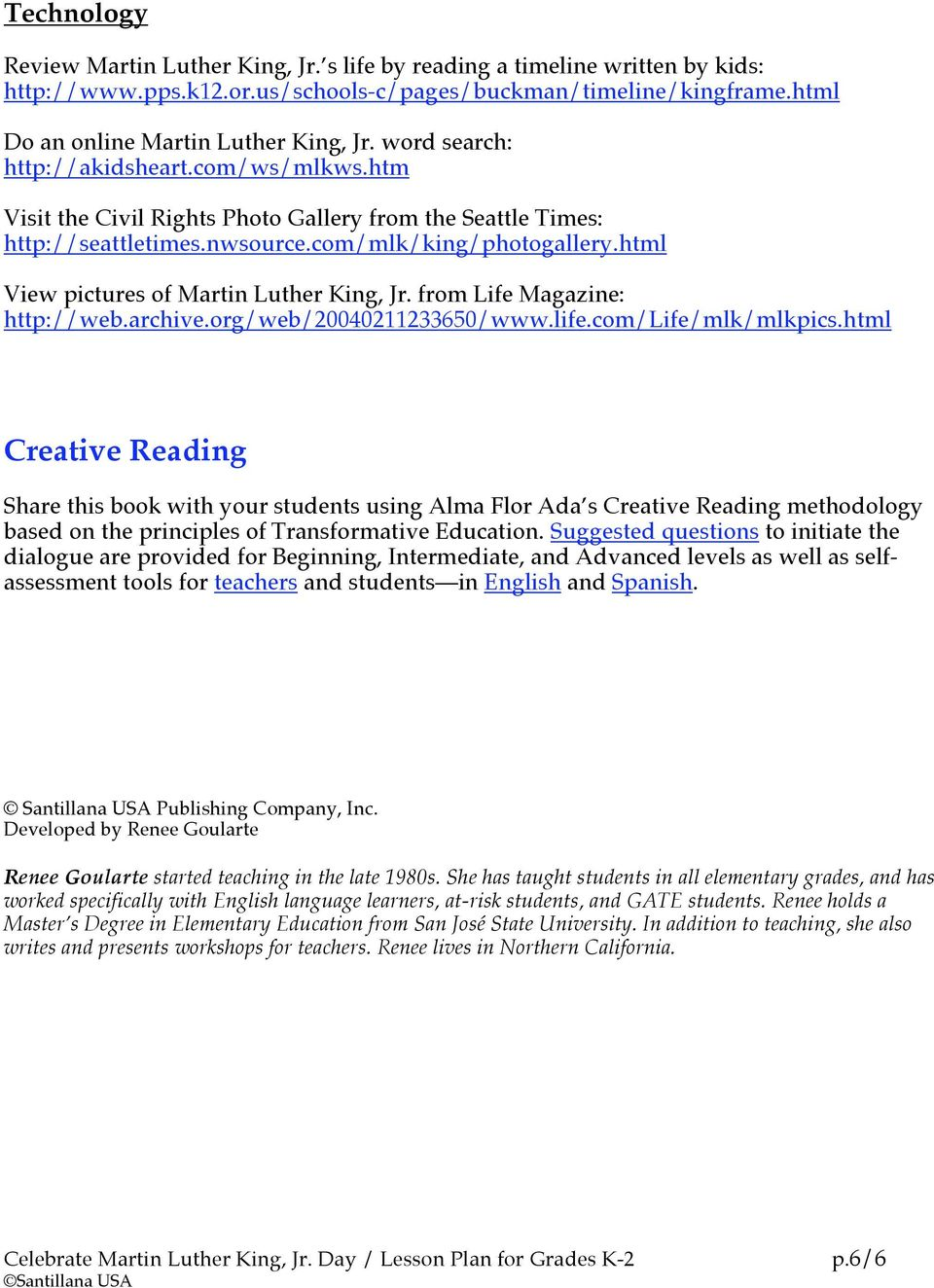 Celebrate martin luther king jr day lesson plan for grades k 2 pdf html view pictures of martin luther king jr from life magazine http ibookread Read Online