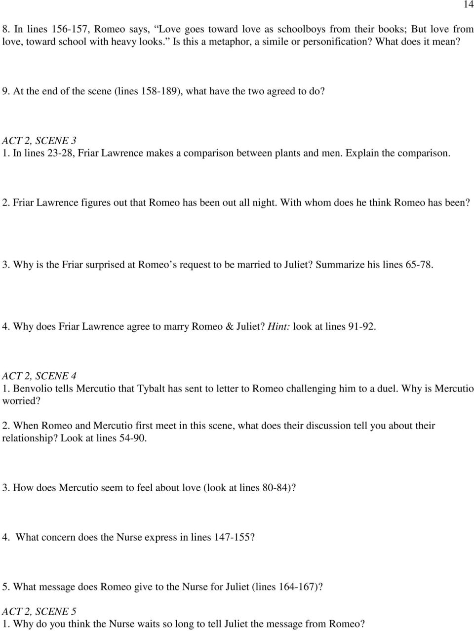romeo and juliet act 2 scene 4 questions and answers