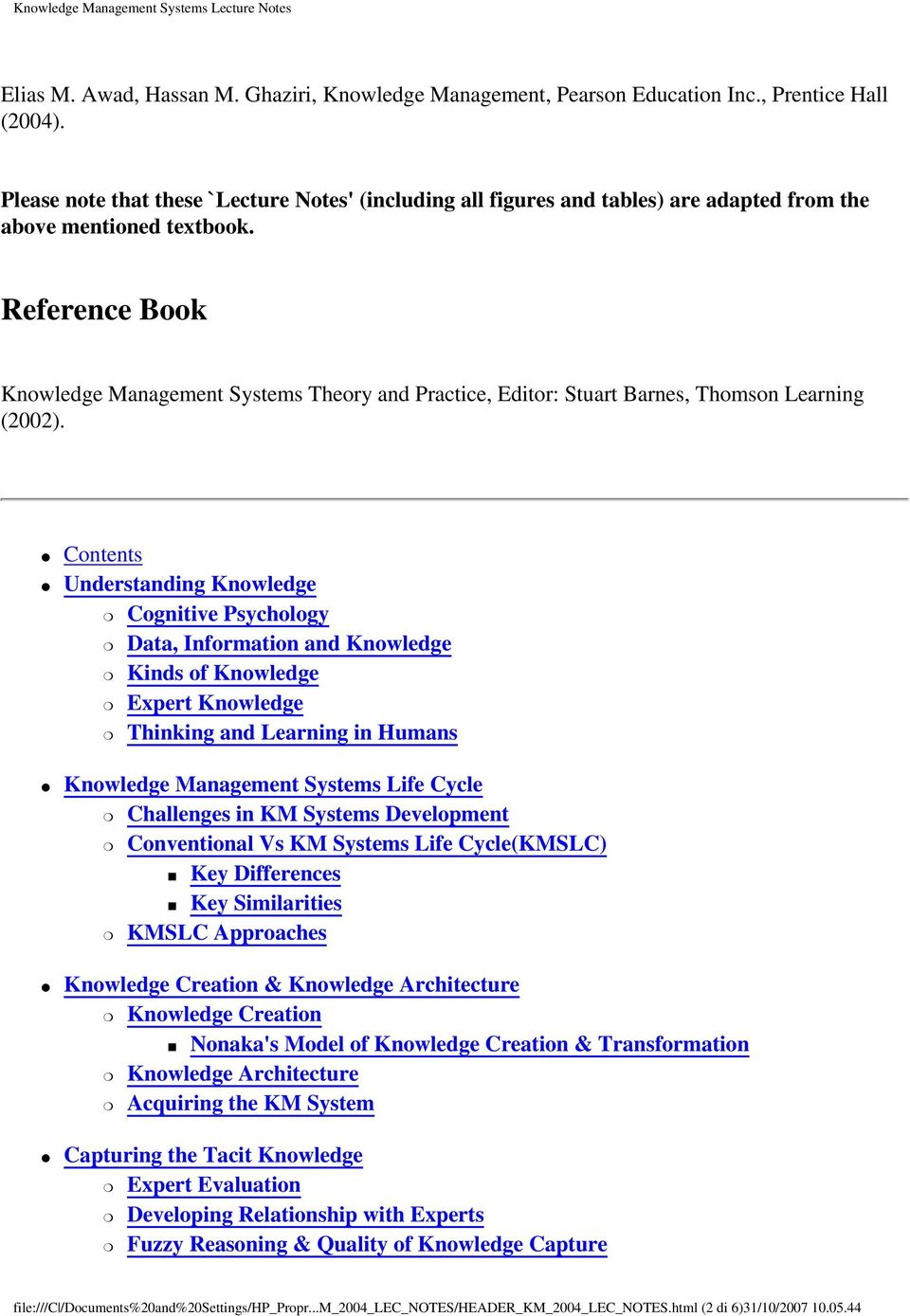 Knowledge Management Systems Lecture Notes Pdf Free Download