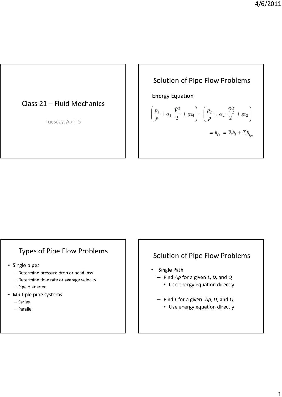Solution of Pipe Flow Problems  Class 21 Fluid Mechanics  Types of