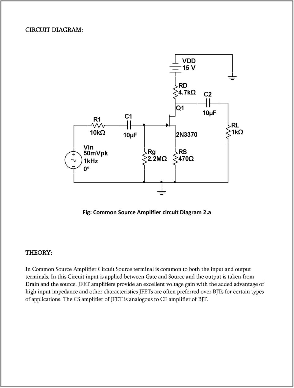 Electronics Circuit Analysis Pdf Diagram Of Jfet In This Input Is Applied Between Gate And Source The Output Taken From