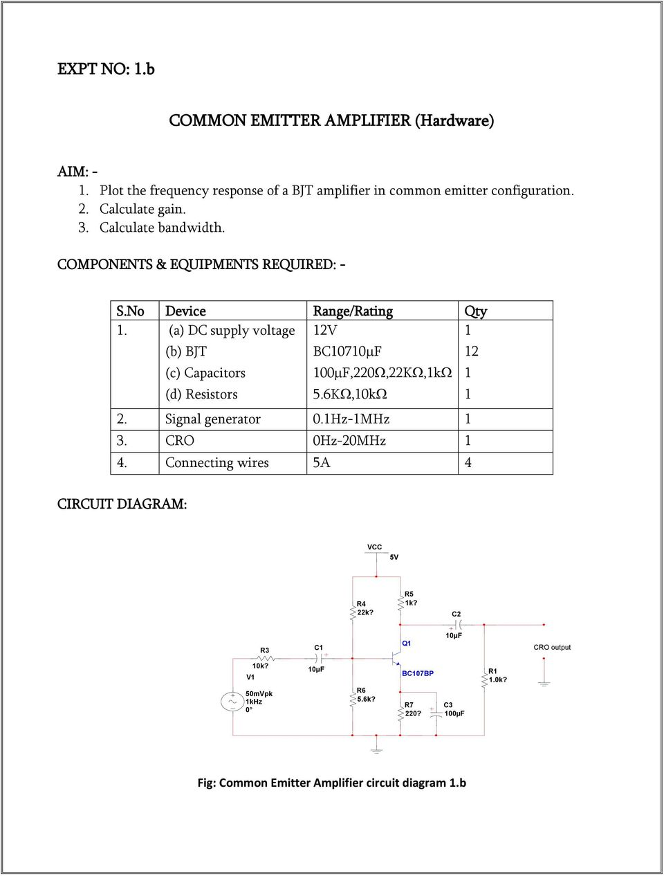 Electronics Circuit Analysis Pdf Rc Coupled Amplifier Frequency Response A Dc Supply Voltage B Bjt C Capacitors D