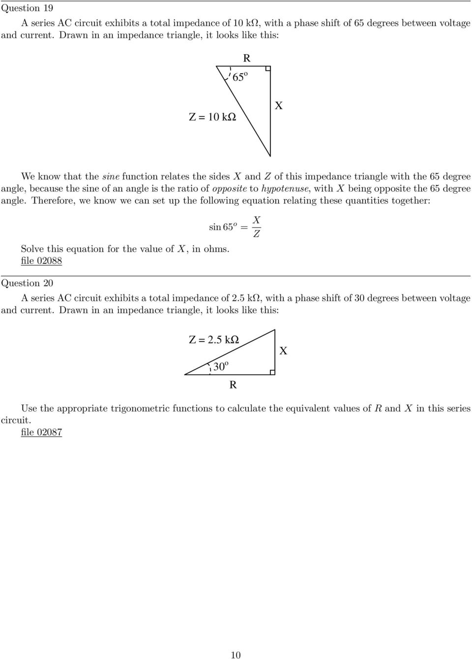Trigonometry For Ac Circuits Pdf Circuit Dummies Is The Ratio Of Opposite To Hypotenuse With Being 65 Degree Angle