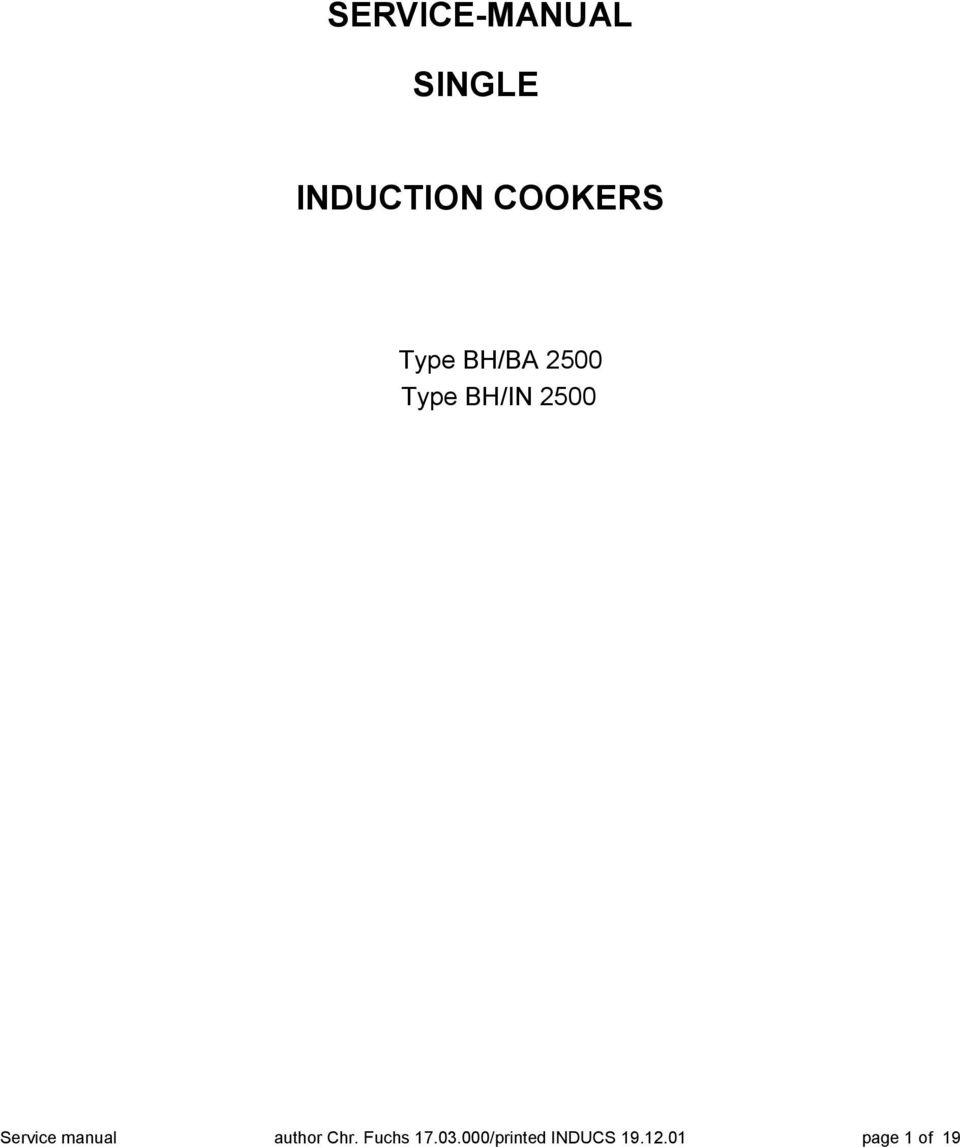 Service Manual Single Induction Cookers Pdf Circuit Diagram Of Cooker 2500 Author Chr