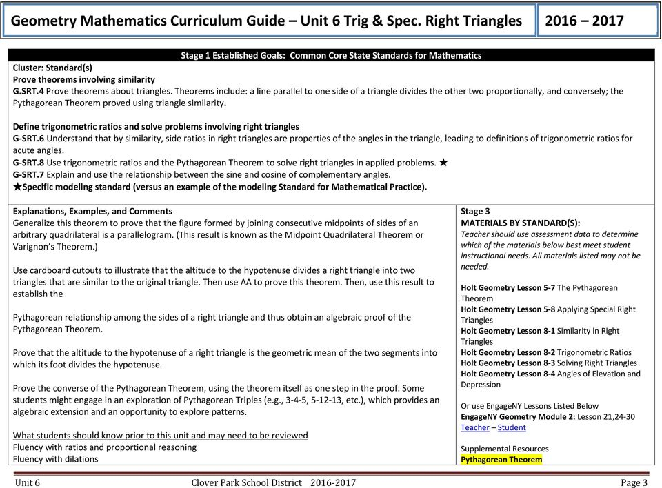 Geometry Mathematics Curriculum Guide Unit 6 Trig Spec