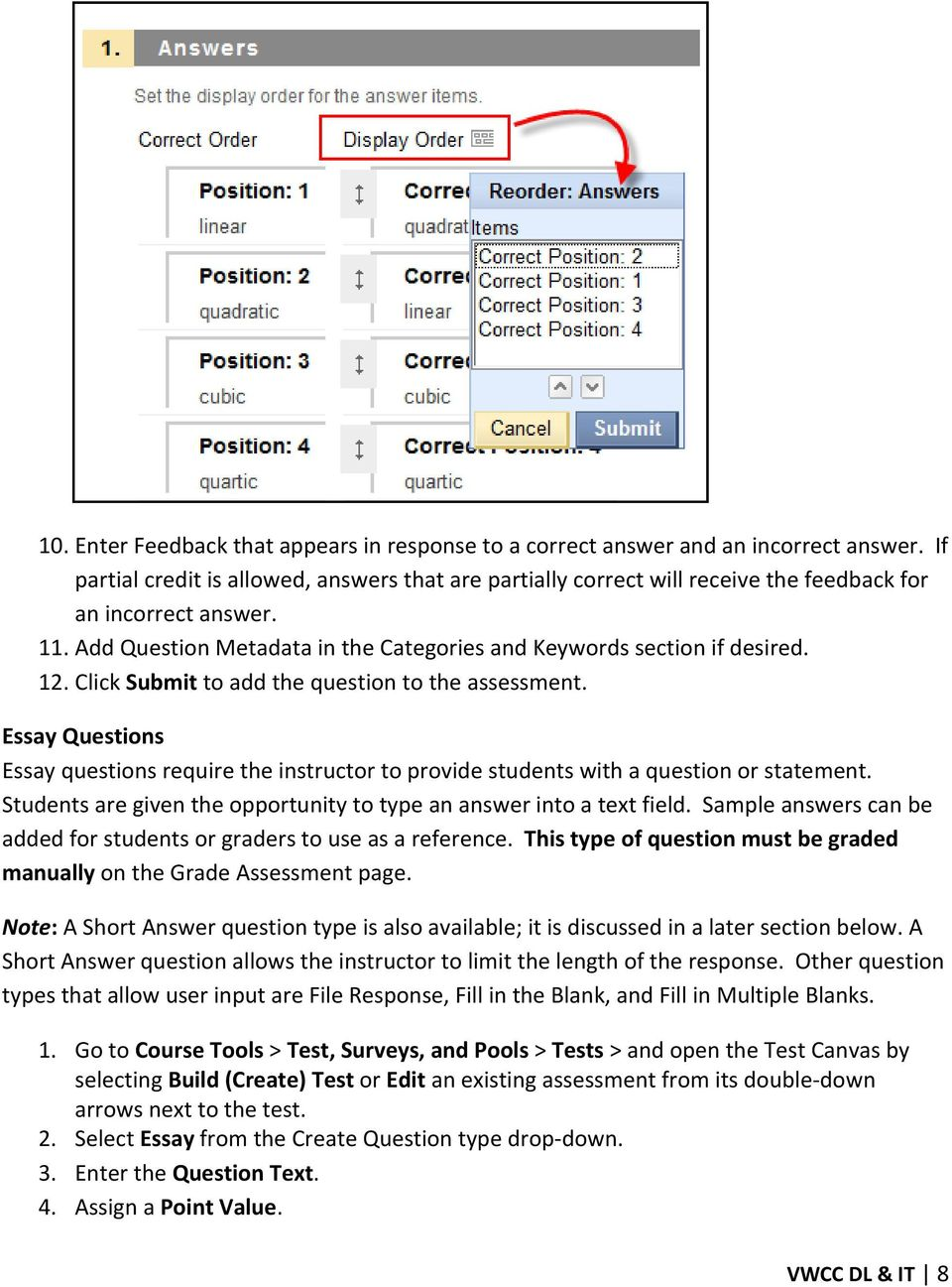 Introduction to Blackboard Test Question Types - PDF