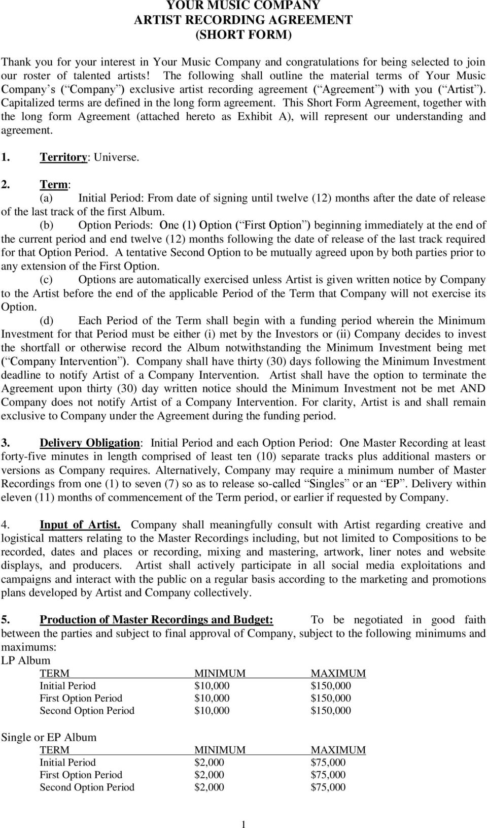 YOUR MUSIC COMPANY ARTIST RECORDING AGREEMENT (SHORT FORM) - PDF