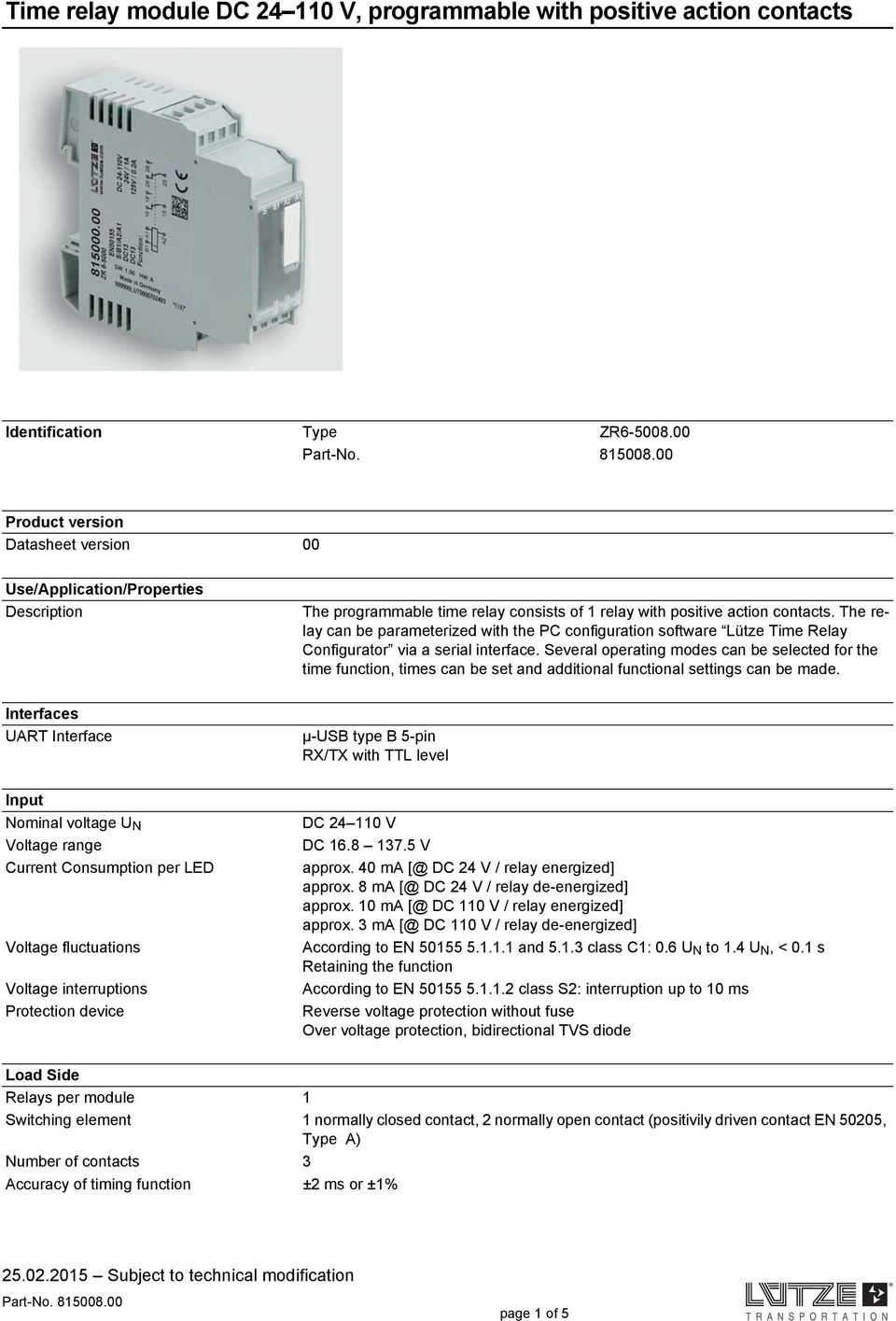 Time Relay Module Dc V Programmable With Positive Action Contacts Pdf Nominal Current The Can Be Parameterized Pc Configuration Software Ltze Configurator Via A