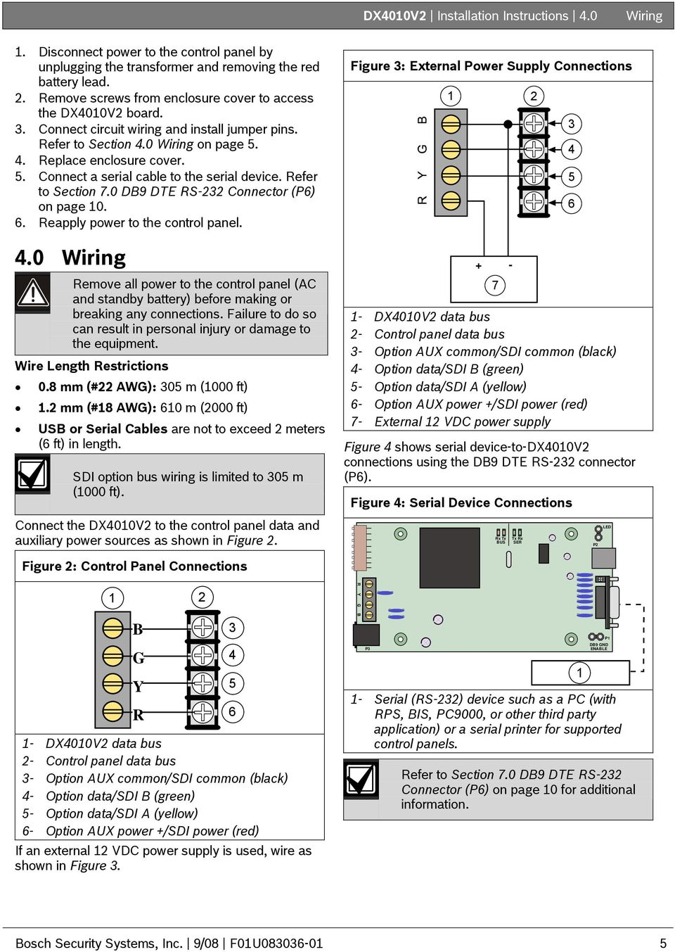 Dx4010v2 Installation Instructions Rs 232 Usb Serial Interface Diagram Together With Port Pinout On 9 Pin Rs232 Cable Refer To Section 70 Db9 Dte Connector P6 Page 10