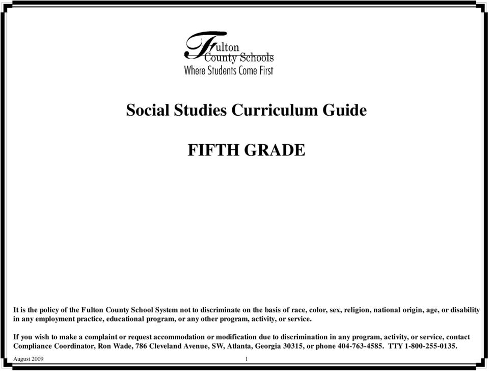 Social Studies Curriculum Guide FIFTH GRADE PDF
