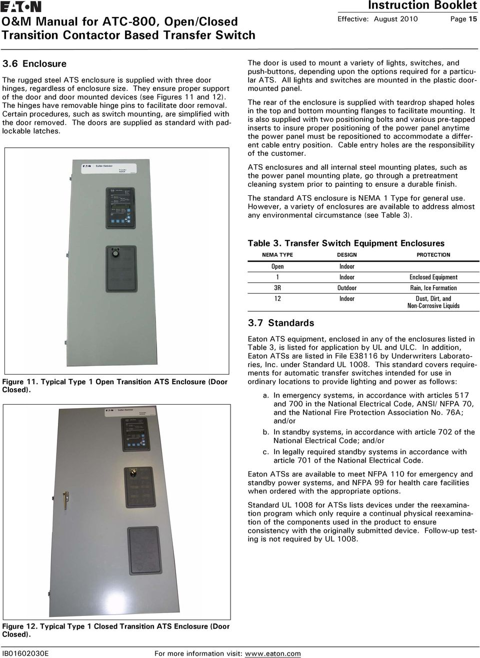 O & M Manual for ATC-800, Open/Closed Transition Contactor