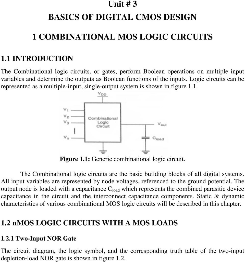 Unit 3 Basics Of Digital Cmos Design 1 Combinational Mos Logic Diagrams Gates Photos Circuit On Using Circuits Can Be Represented As A Multiple Input Single Output System Is