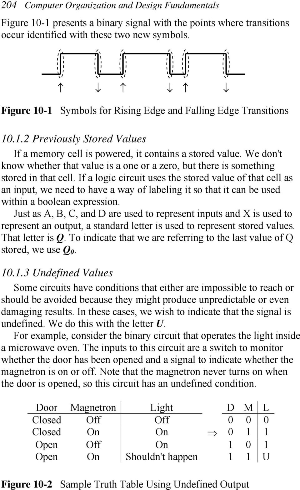 Chapter Ten New Truth Table Symbols Edges Transitions Memory Cells Schematic Page 1 2 We Dont Know Whether That Value Is A One Or Zero But