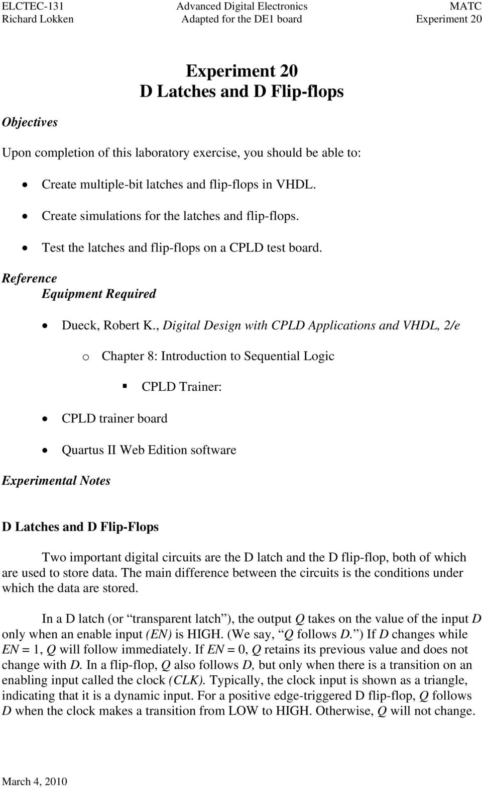 Experiment 20 D Latches And Flip Flops Pdf Flop In Addition 3 Bit Counter On Circuit Digital Design With Cpld Applications Vhdl 2 E O Chapter 8 Introduction Figure 201