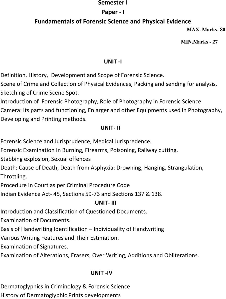 P G Diploma In Criminology And Forensic Science Semester I Pdf Free Download