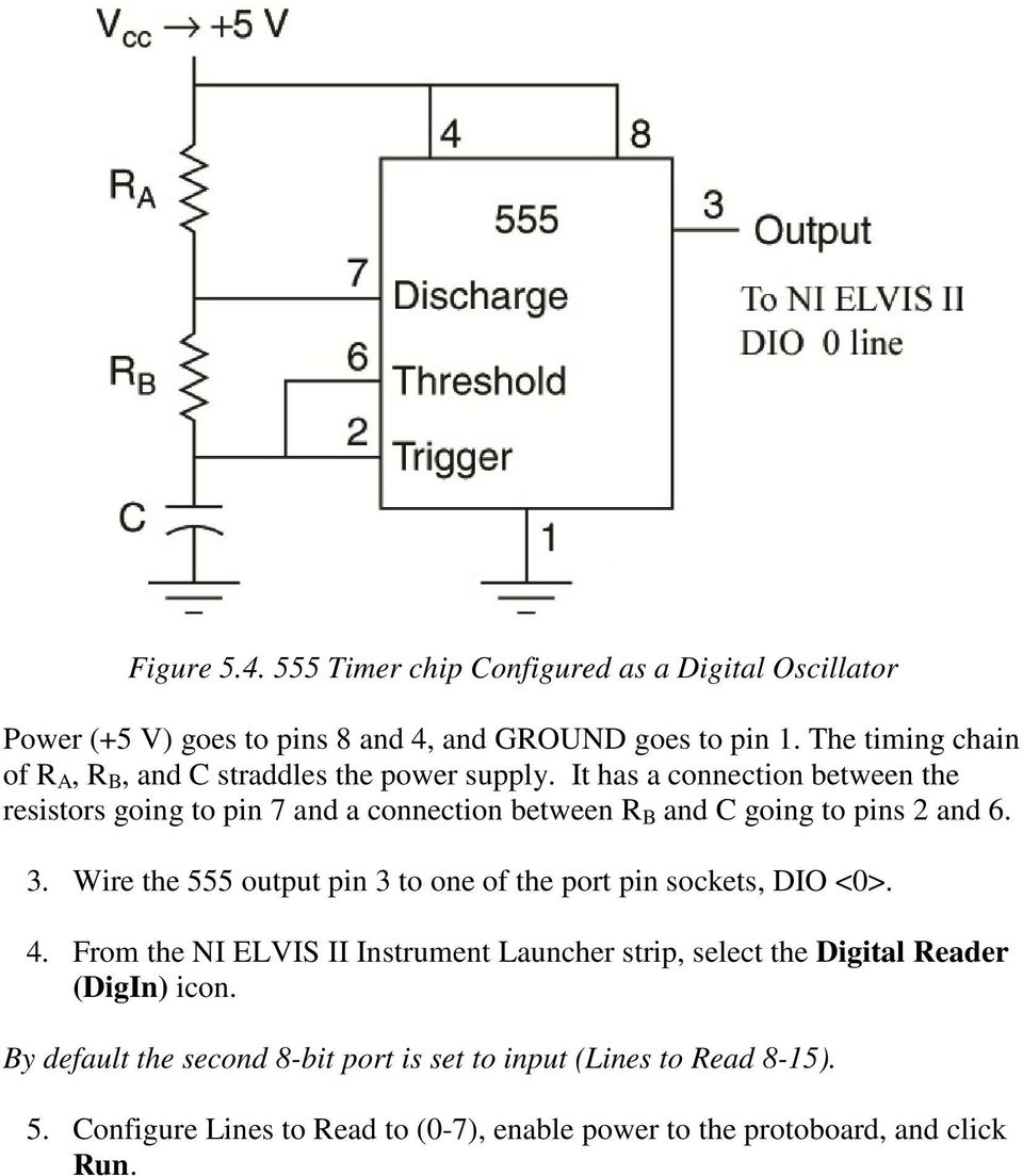 Lab 5 Digital I O Figure 50 Four Bit Counter Circuit On Wiring 555 Ic As A Square Wave Oscillator For Two Led Flasher Application It Has Connection Between The Resistors Going To Pin 7 And R B