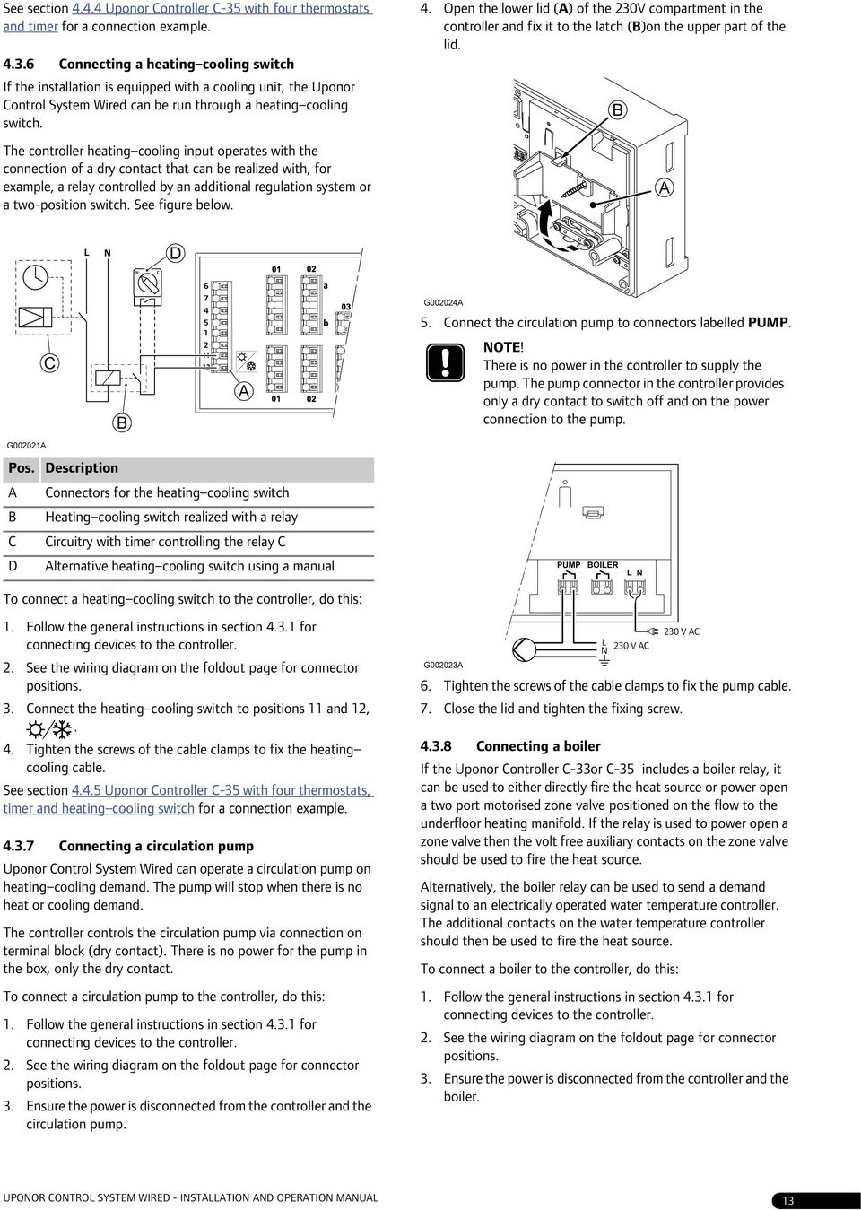 Indoor Climate Uponor Control System Wired Installation And Heating Cooling Thermostat Wiring Diagram 6 Connecting A Switch If The Is Equipped With Unit