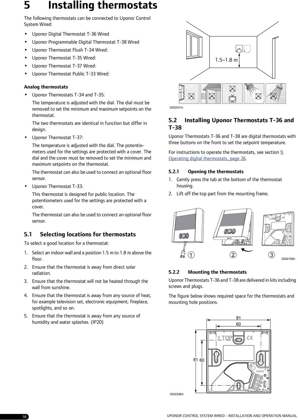 Indoor Climate Uponor Control System Wired Installation And Dial Thermostat Wiring Diagram Adjusted With The Must Be Removed To Set Minimum Maximum