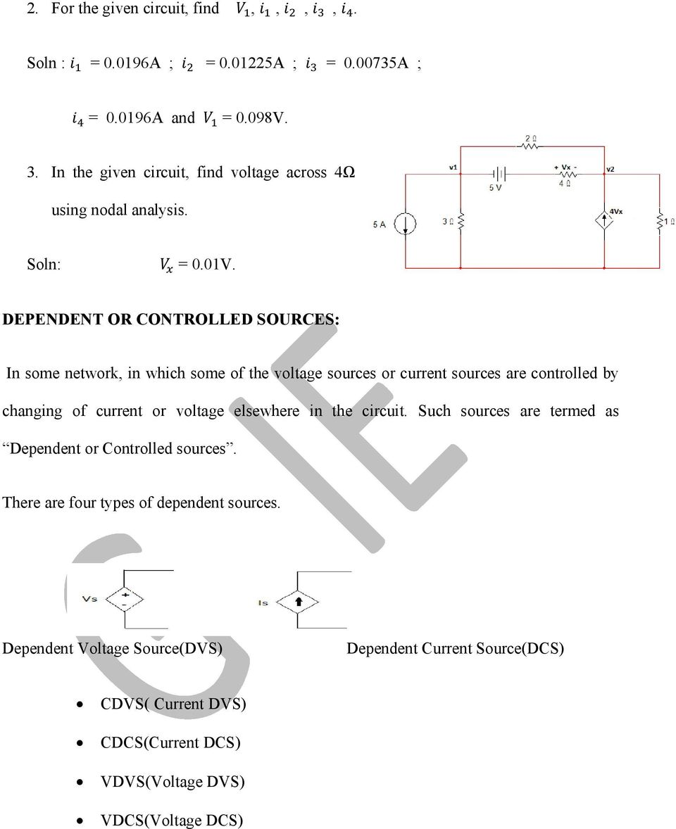 Basic Electrical Engineering Pdf Circuit Diagram Voltage Source Dependent Or Controlled Sources In Some Network Which Of The