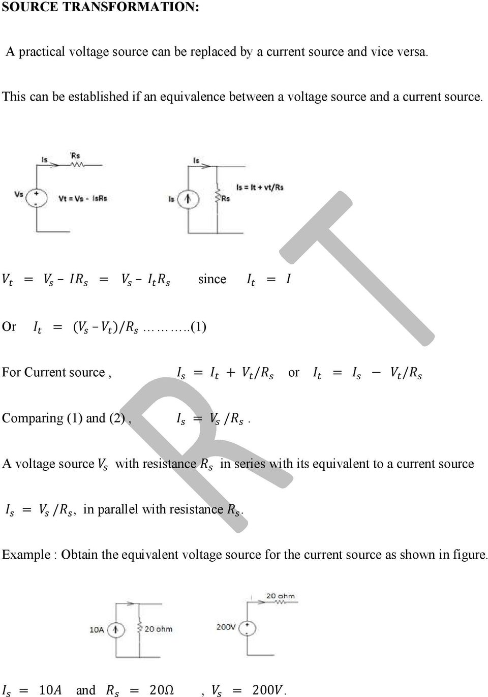 Basic Electrical Engineering Pdf Electronic Circuit Analysis Jntu Notes 1 For Current Source Or Comparing