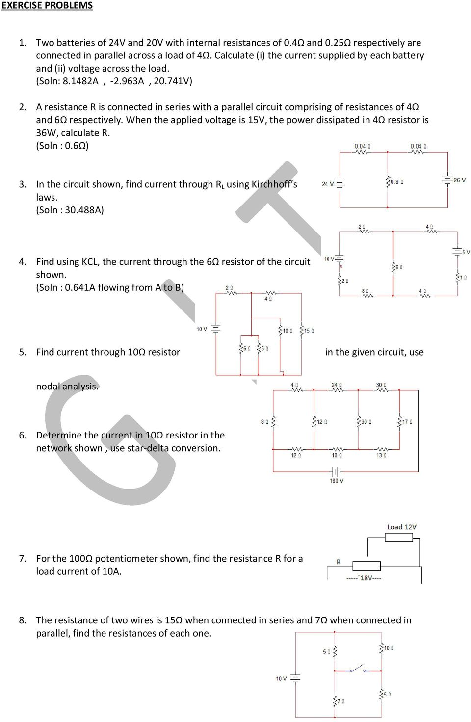Basic Electrical Engineering Pdf Below Is A Current Divider Circuit With Voltage Source Resistance R Connected In Series Parallel Comprising Of Resistances 4