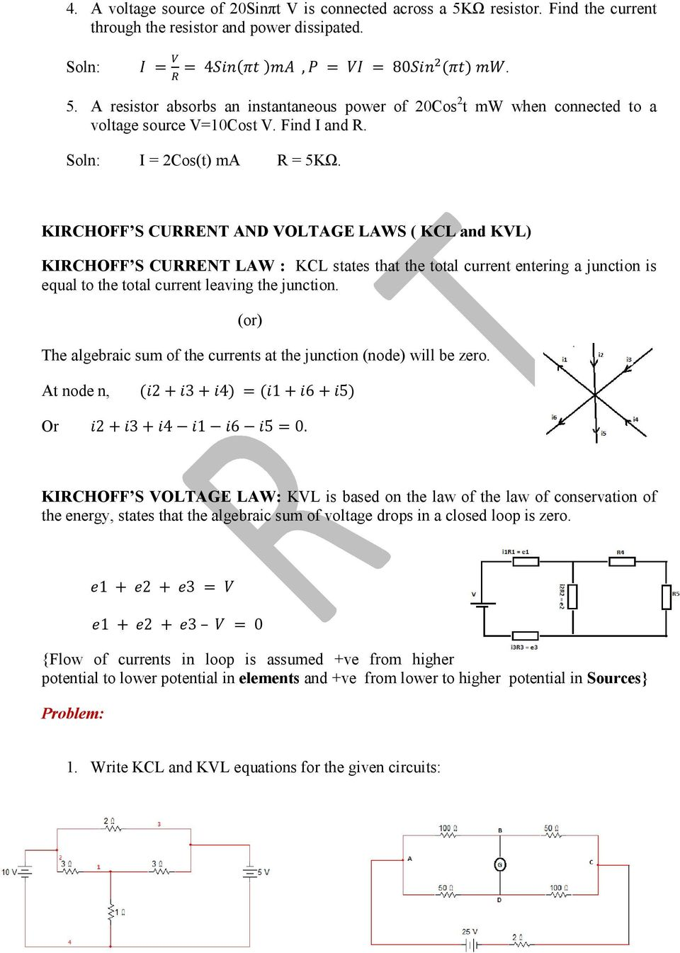 Basic Electrical Engineering Pdf Below Is A Current Divider Circuit With Voltage Source Kirchoff S And Laws Kcl Kvl Law