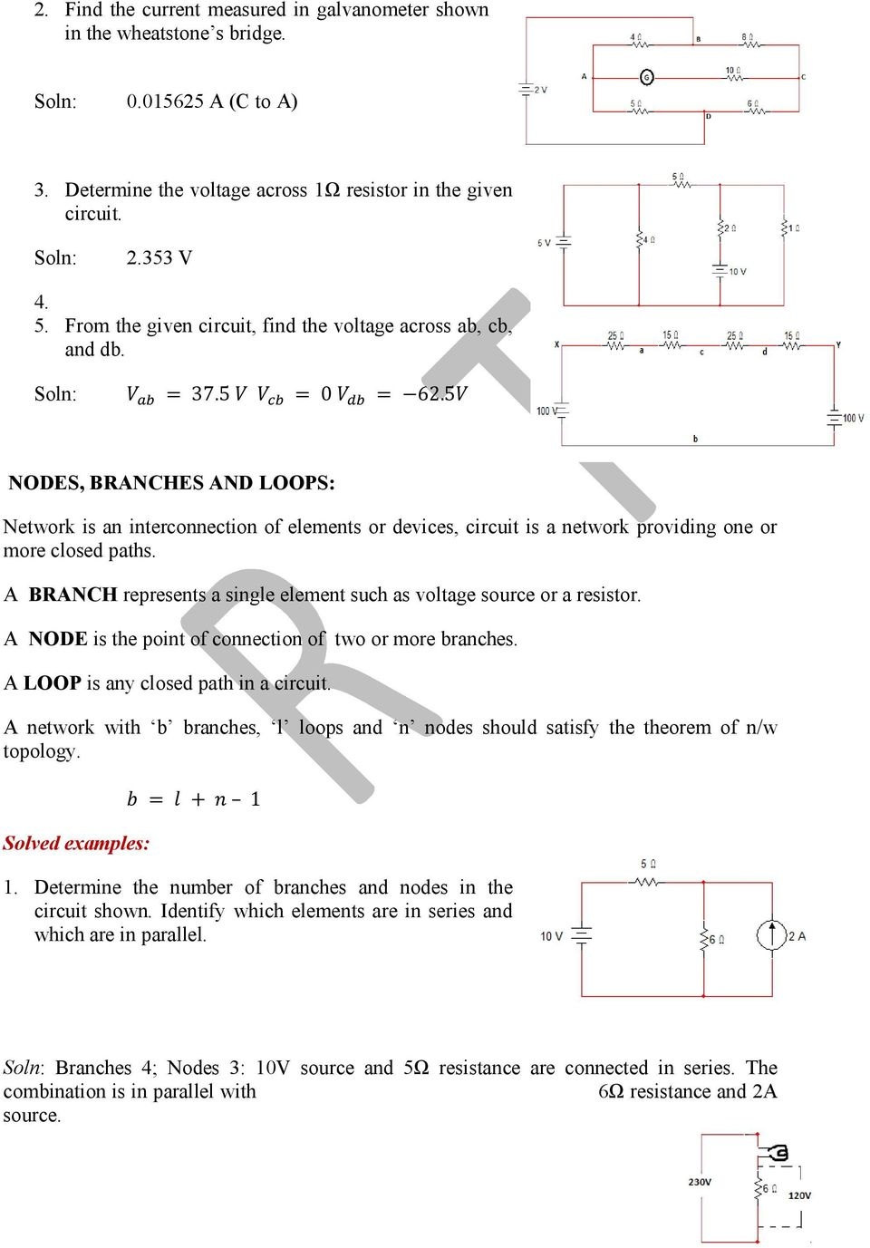 Basic Electrical Engineering Pdf Resistors How To Measure Current Practically In A Circuit 5 Nodes Branches And Loops Network Is An Interconnection Of Elements Or Devices