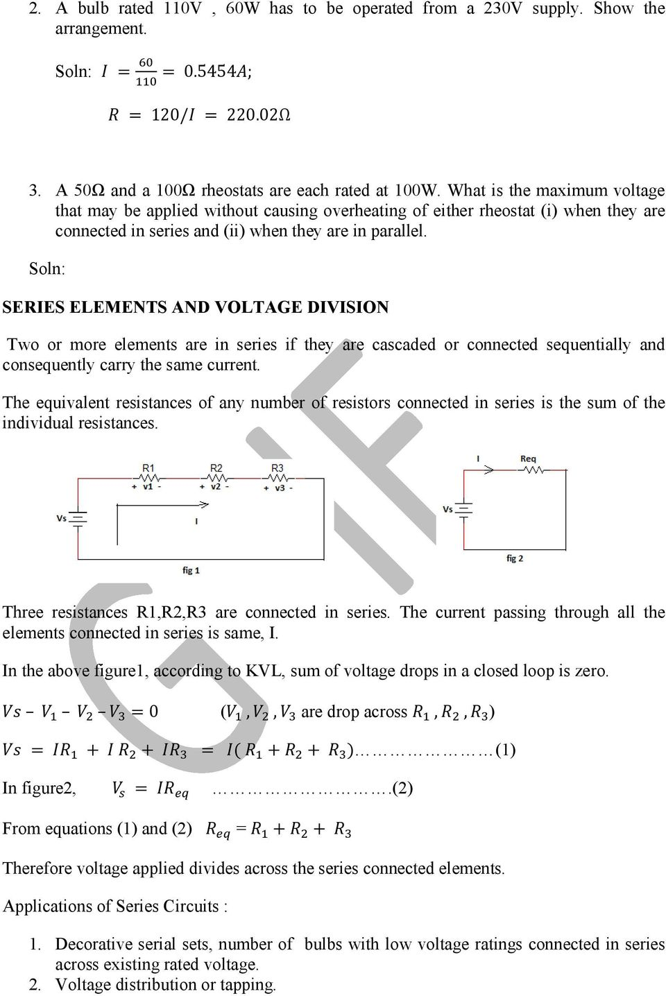 Basic Electrical Engineering Pdf Dc Series Circuit With Three Resistors Soln Elements And Voltage Division Two Or More Are In If They