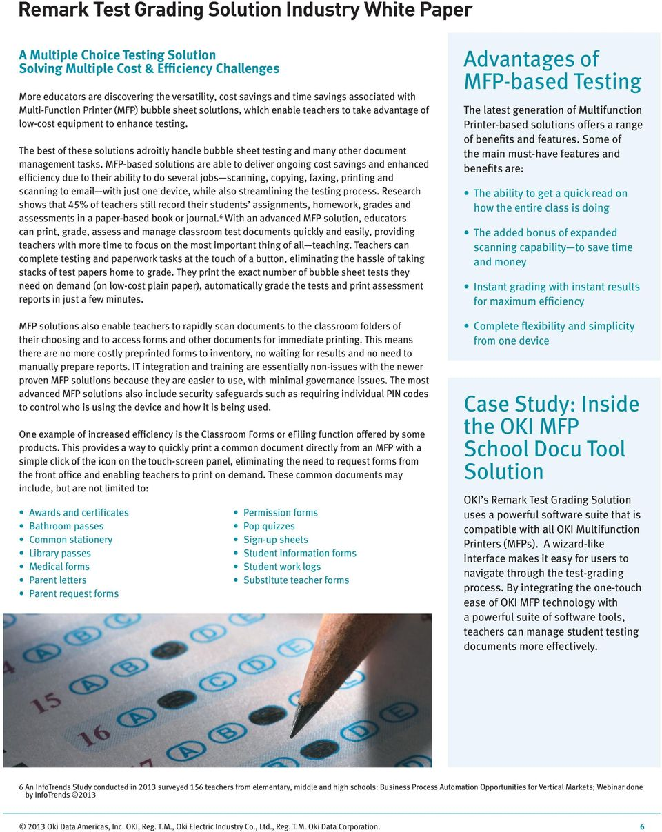 Remark Test Grading Solution Industry White Paper  Bubble