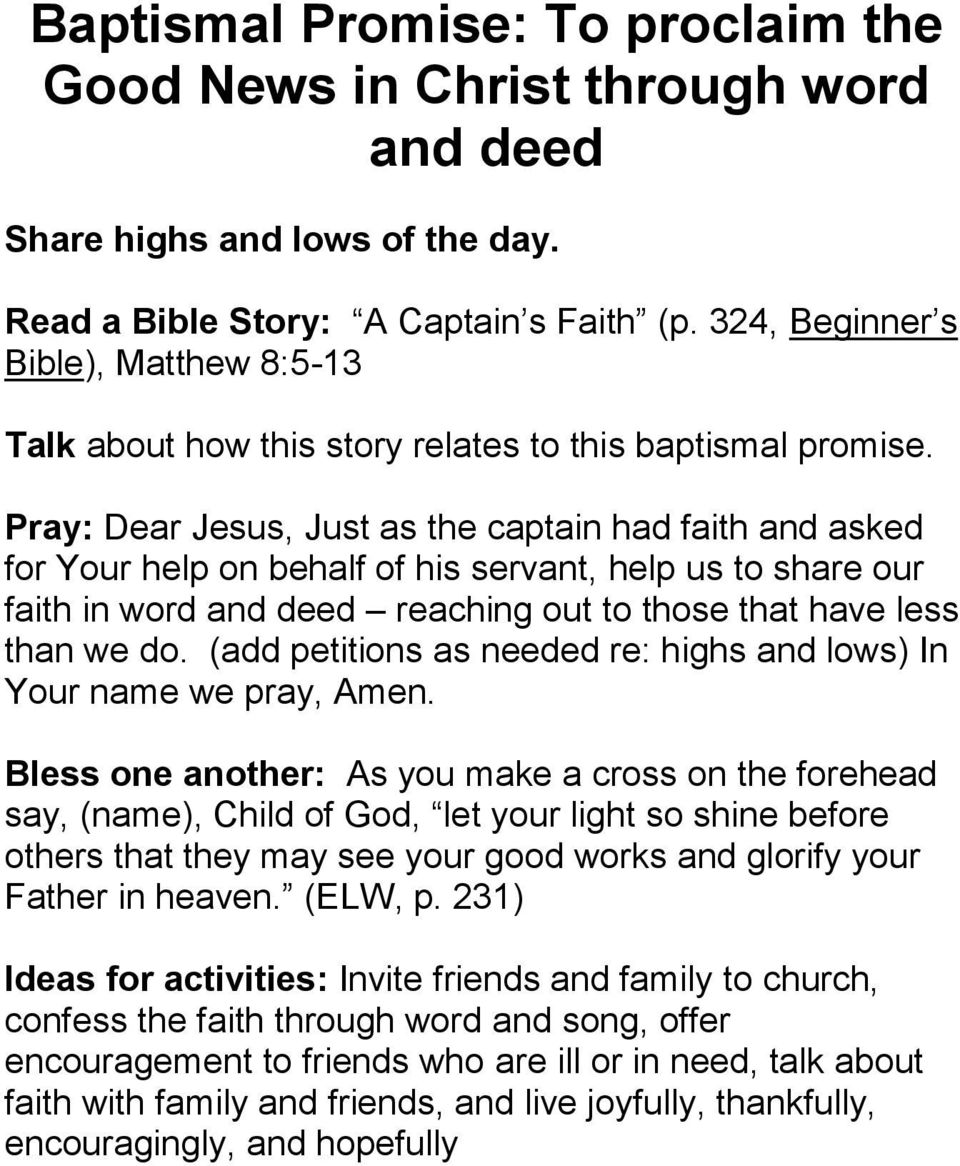 Exploring Our Baptismal Promises  Lent Curated By Stephanie