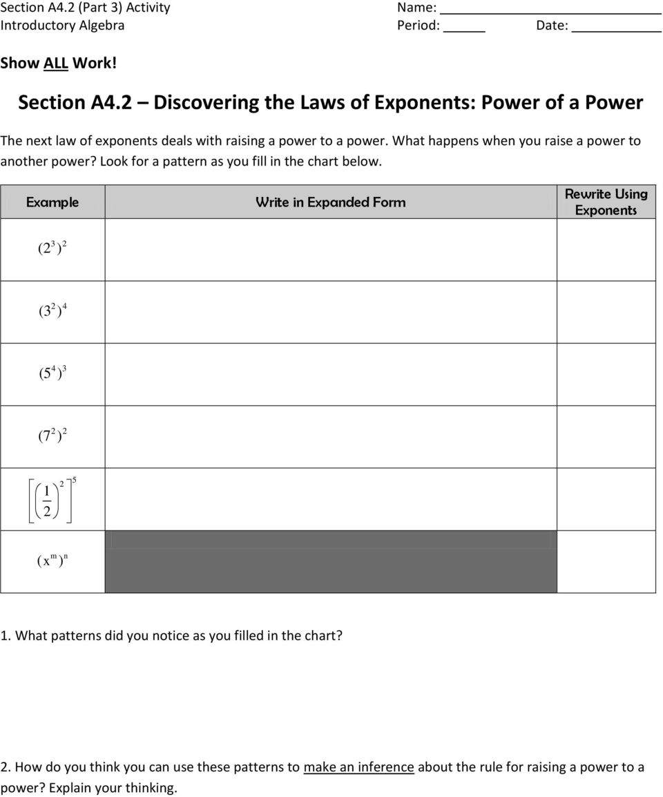 Section A42 Discovering The Laws Of Exponents Product Of Powers Pdf