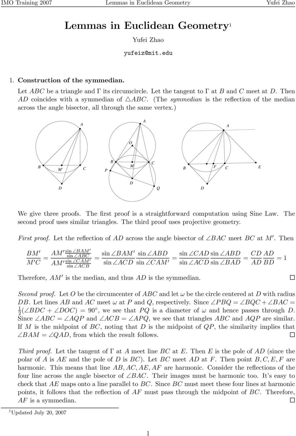 Lemmas in Euclidean Geometry 1 - PDF