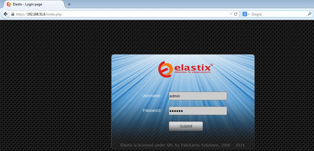 SIP user configuration in Elastix for SETU VFXTH 1. Open the Web GUI of Elastix server in web browser as shown below (IP of server will be same as IP of System on which Elastix is installed).