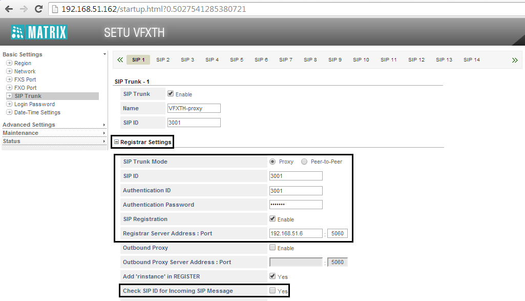 Click Registrar Settings to expand. In SIP Trunk Mode, select Proxy.
