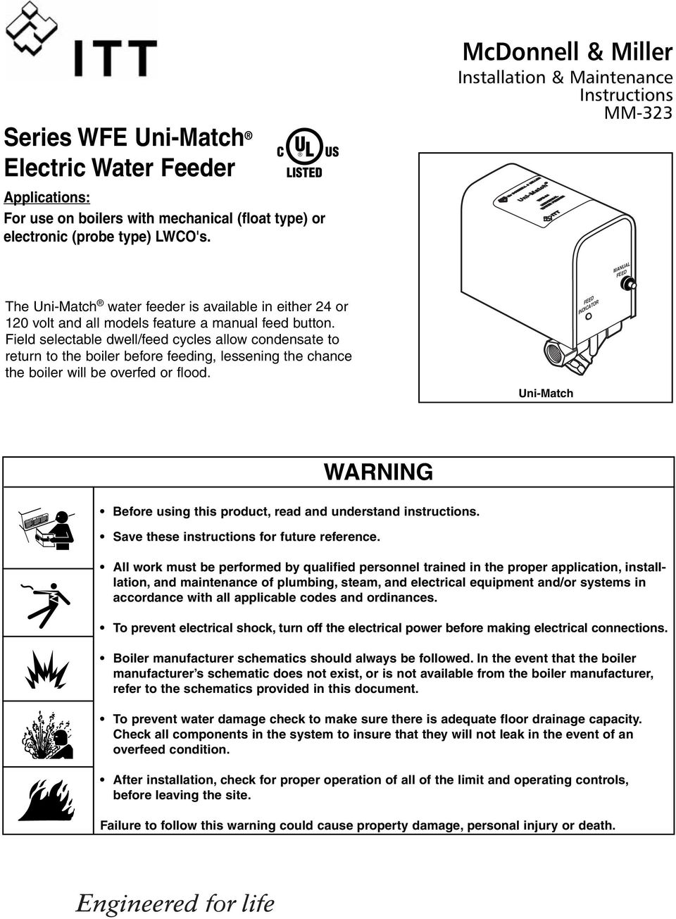 Warning Before Using This Product Read And Understand Instructions Mcdonnell Miller Wiring Diagrams Field Selectable Dwell Feed Cycles Allow Condensate To Return The Boiler Feeding
