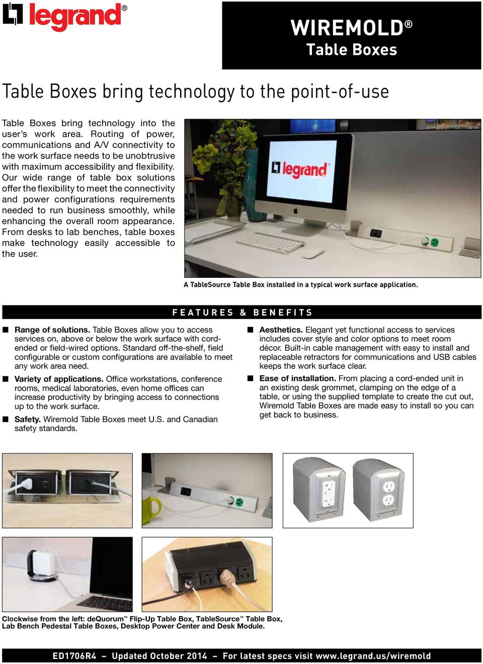 WIREMOLD Table Boxes. Table Boxes bring technology to the point-of ...