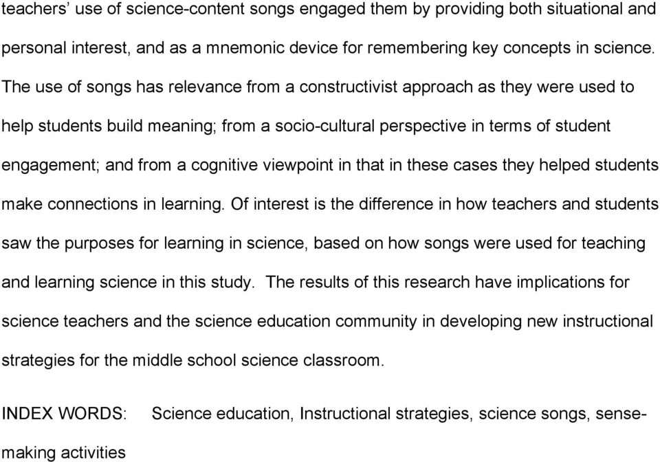 Teaching And Learning Science Through Song Exploring The