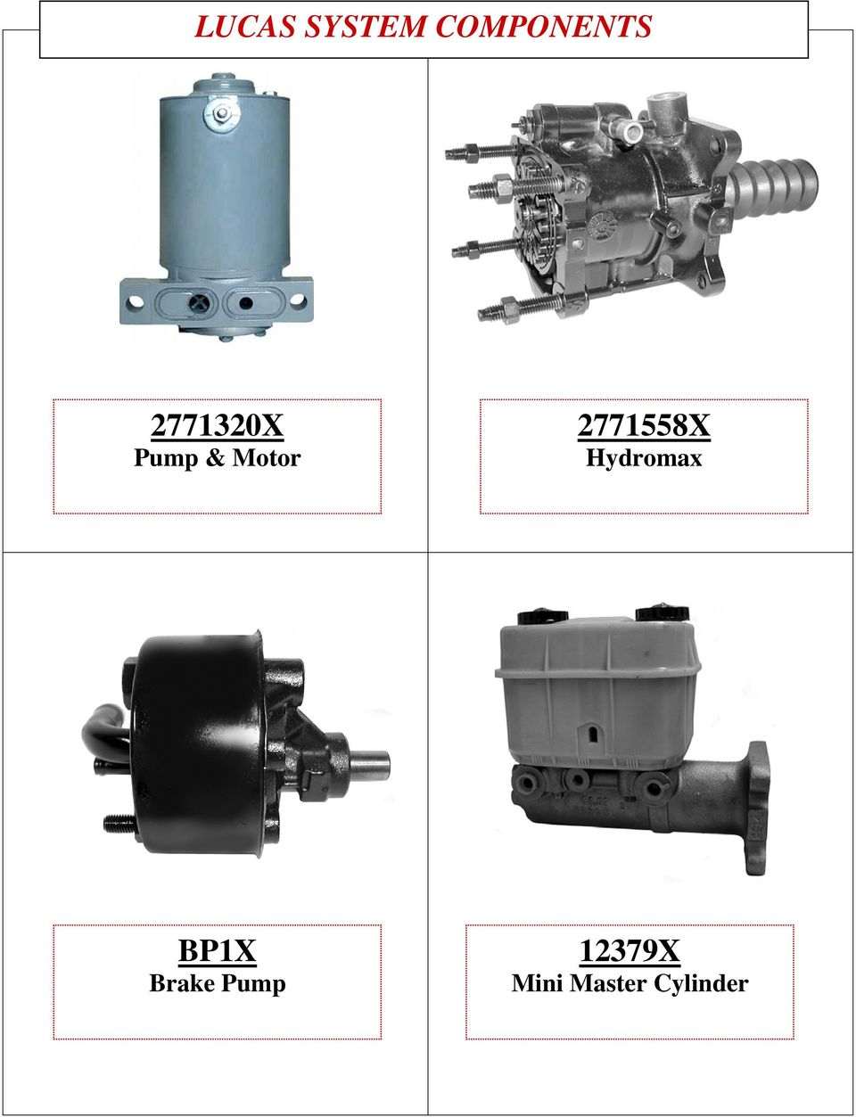 Lucas Girling System Components And Information Pdf Dexter Brake Pump Wiring Diagram 2771558x Hydromax Bp1x