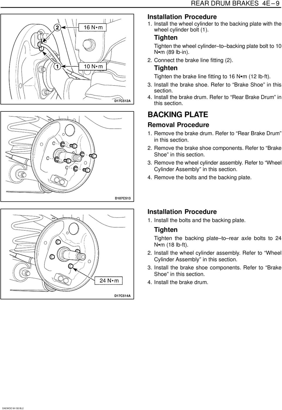 SECTION 4E REAR DRUM BRAKES TABLE OF CONTENTS - PDF